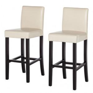 Set de 2 scaune de bar Nello, Bej, Imitatie de piele