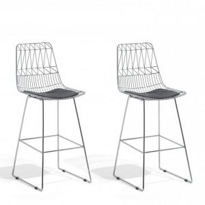 Set de 2 scaune de bar PRESTON, argintii