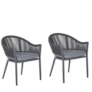 Set de 2 scaune de gradina Mileto, gri, 55 x 46 x 77 cm