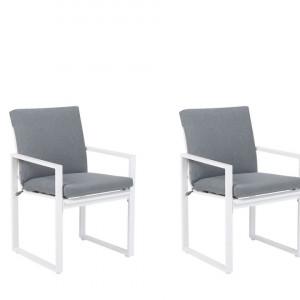 Set de 2 scaune de gradina Pancole, alb/gri, 54 x 51 x 89 cm