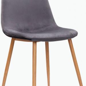 Set de 2 scaune Monza - picioare stejar/catifea - antracit
