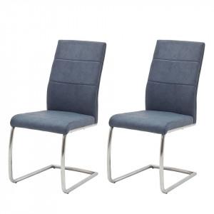 Set de 2 scaune Palmyra poliuretan/metal, albastru deschis, 44 x 98 x 65 cm