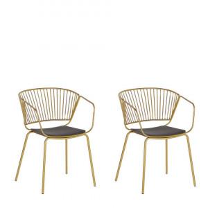 Set de 2 scaune Rigby, auriu/negru, 54 x 49 x 77 cm