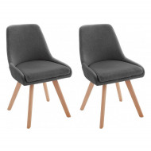 Set de 2 scaune Rudi, tesatura/lemn masiv de stejar, gri/maro, 50 x 58 x 82 cm
