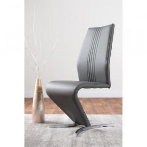 Set de 2 scaune Samirah, piele ecologica, gri, 99 x 44 x 59 cm