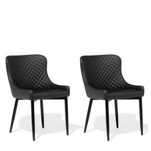 Set de 2 scaune SOLANO, piele sintetică, negru 82 x 51 x 52 cm