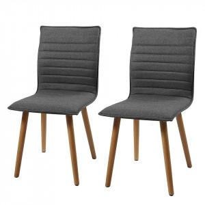 Set de 2 scaune tapitate Kean I tesatura/lemn, gri, 44 x 88 x 55.5 cm