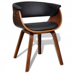 Set de 2 scaune tapitate, negru/maro, 72 x 59,5 x 51 cm