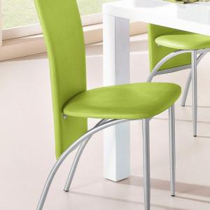 Set de 2 scaune tapitate Nicole - piele sintetica - verde/metal