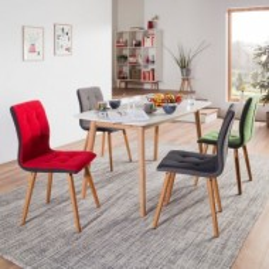 Set de 2 scaune Troon I gri inchis cu picioare din stejar