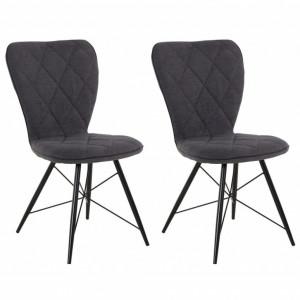 Set de 2 scaune Viola, textil, antracit, 47x62x90 cm