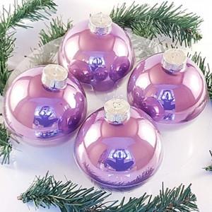 Set de 4 globuri mari de Craciun, 100mm, violet lacuit