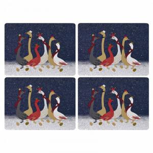 Set de 4 naproane Geese Cork, multicolor