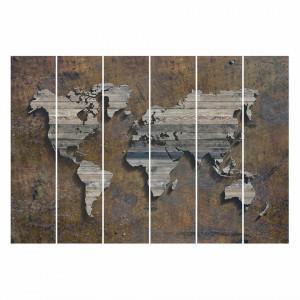 Set de 6 paneluri  Karte Rost, microfibra, maro