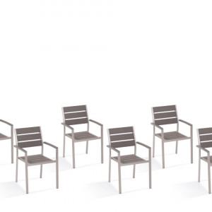 Set de 6 scaune de gradina Vernio, aluminiu/ lemn, gri, 54 x 57 x 88 cm