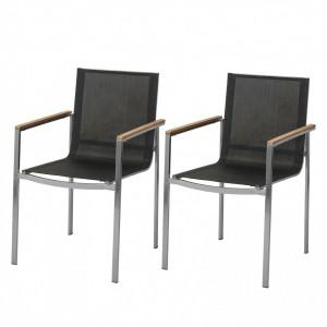 Set de 6 scaune Teakline textile/otel inoxidabil/lemn masiv, negru, 55 x 86 x 58 cm