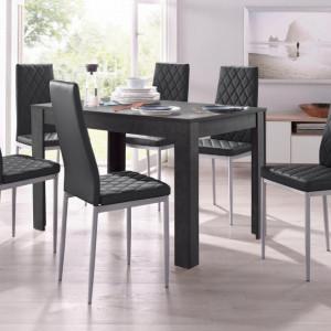 Set de living Lynn/Brooke - 4 scaune si o masa - gri/negru - 120/80/75