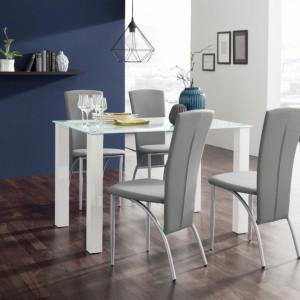 Set de living Norma/Nicole 4 scaune piele sintetica + 1 masa cu blat de sticla, gri, 120 x 80 x 76 cm