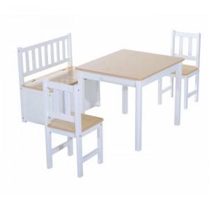 Set de o masa, 2 scaune si o bancuta Erick, alb/bej