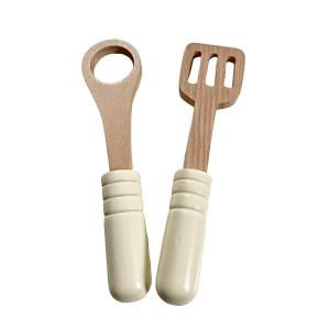 Set ustensile din lemn 18 cm , jucarie pentru copii