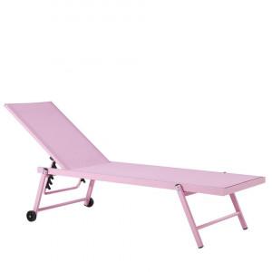 Sezlong reclinabil Portofino, roz, 198 x 65 x 107 cm