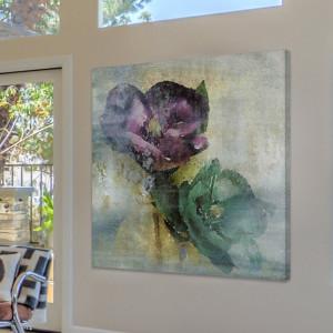"Tablou ""Minunile primăverii"", verde/gri/violet, 66 x 66 cm"