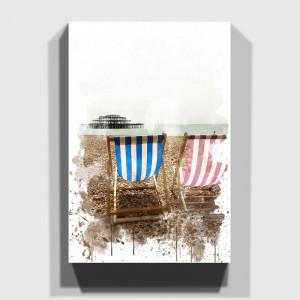 Tablou Brighton Beach, maro/alb, 60 x 40 cm