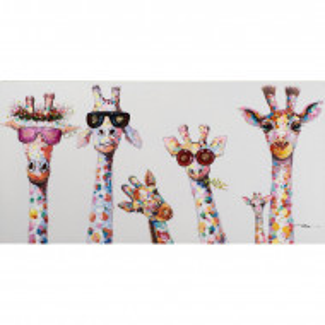 Tablou 'Curious Giraffes Family', 70cm H x 140cm W x 4cm D