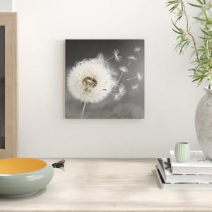 Tablou, lemn/panza, crem/gri, 40 x 40 cm