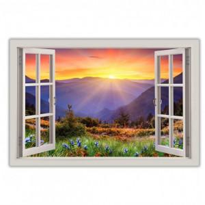 Tablou Sunrise Mountain View cu efect de fereastră 3D, 76cm H x 101cm W x 1,8cm D