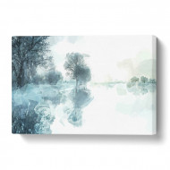 Tablou 'Trees Reflecting in a Lake at Winter', 60 x 90 x 3 cm