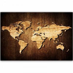Tablou Wooden World Map, 60 x 90 cm