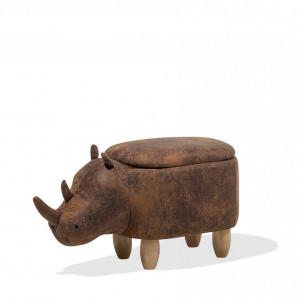 Taburet Rhino, piele sintetica, maro