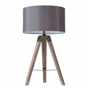 Veioza Tripod PAM tesatura/lemn masiv, gri, 1 bec, rotunda, diametru 3 cm