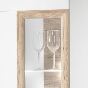 Vitrina Cornhill cu sistem de lumini, PAL/plastic, alb, 60 x 38 x 197 cm