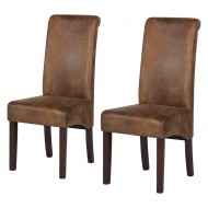 Set de 2 scaune tapitate Nello, maro antic