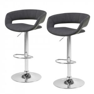 Set de 2 scaune de bar Sumaika  - tesatura antracit