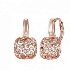 Highstreet Jewels, Cercei patrati decorati cu cristale Swarovski, Auriu rose