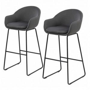 Set de 2 scaune de bar Hallund - tesatura/metal - gri inchis