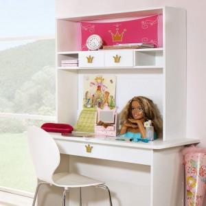 Atasament raft Kate pentru birou PAL, alb/roz, 105 x 91 x 33 cm