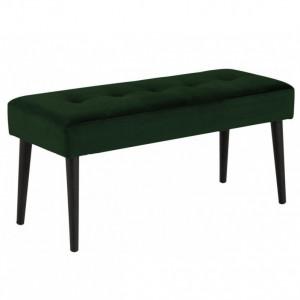 Banca Glory, catifea, verde/negru, 95 x 45 x 38 cm