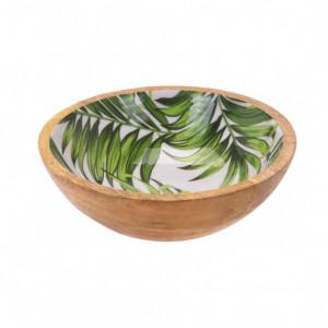 Bol pentru salata Karll din lemn de mango, model frunze, 20 cm diametru