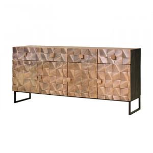 Bufet Cothern, negru/maro, 80 x 170 x 42 cm