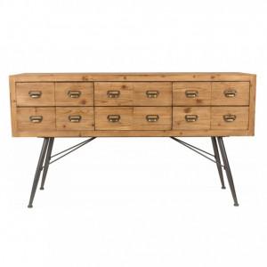 Bufet, lemn/metal, maro, 150 x 84 x 40 cm