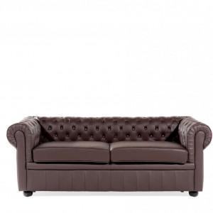 Canapea Chesterfield, piele, maro, 70 x 195 x 75 cm