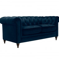 Canapea Chesterfield Premium Collection by Home Affaire, catifea albastra, 2 locuri