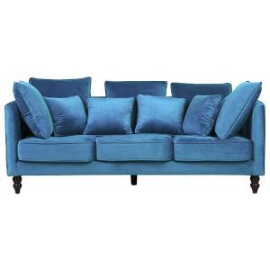 Canapea Moderna cu 3 locuri, catifea, albastra, 203 x 96 x 59 cm