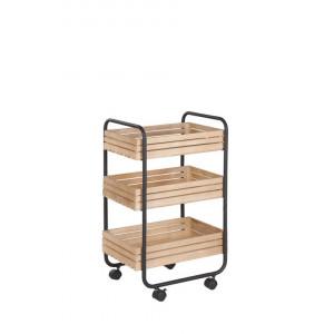 Cărucior de bucătărie Formia, lemn/ metal, 76 x 44 x 34 cm