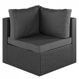 Coltar Paradise Lounge din ratan/tesatura/aluminiu, gri, 75 x 63 x 75 cm