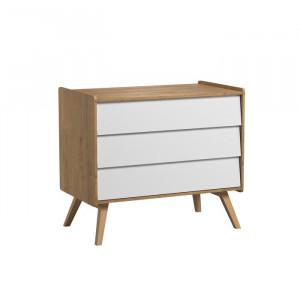 Comoda Arnaline, MDF/ lemn, maro/alb, 90 x 100 x 59 cm